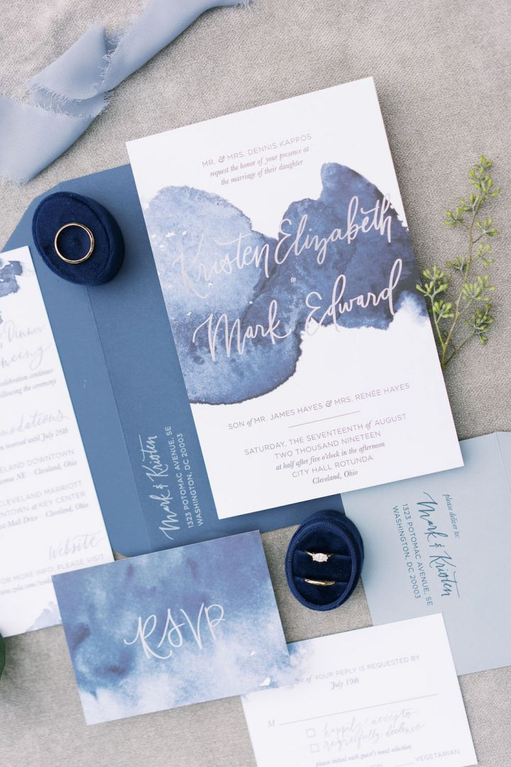 Wedding invitiation and rsvp with water color details in Classic Blue: Color Of The Year