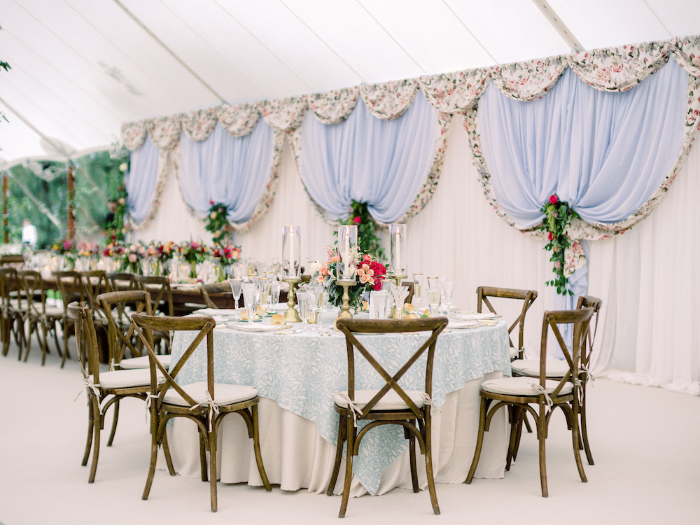 Simple reception hall setting featuring lighter shades of Classic Blue: Color Of The Year
