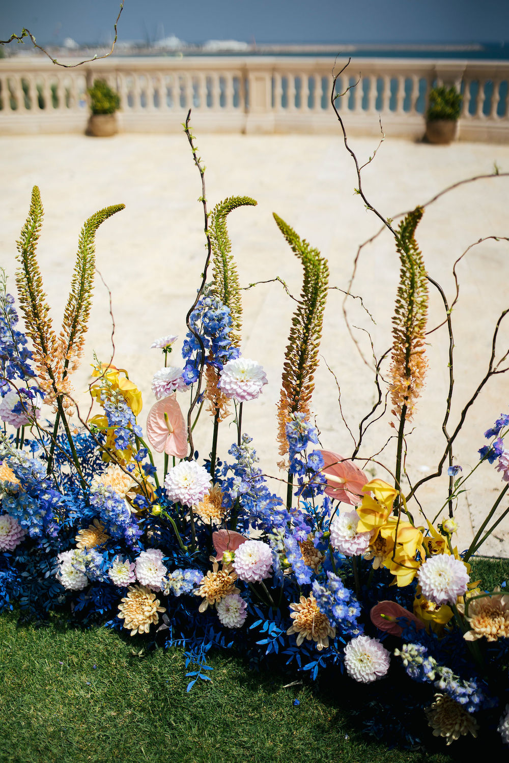A mix of outdoor flowers featuring shades of Classic Blue: Color Of The Year