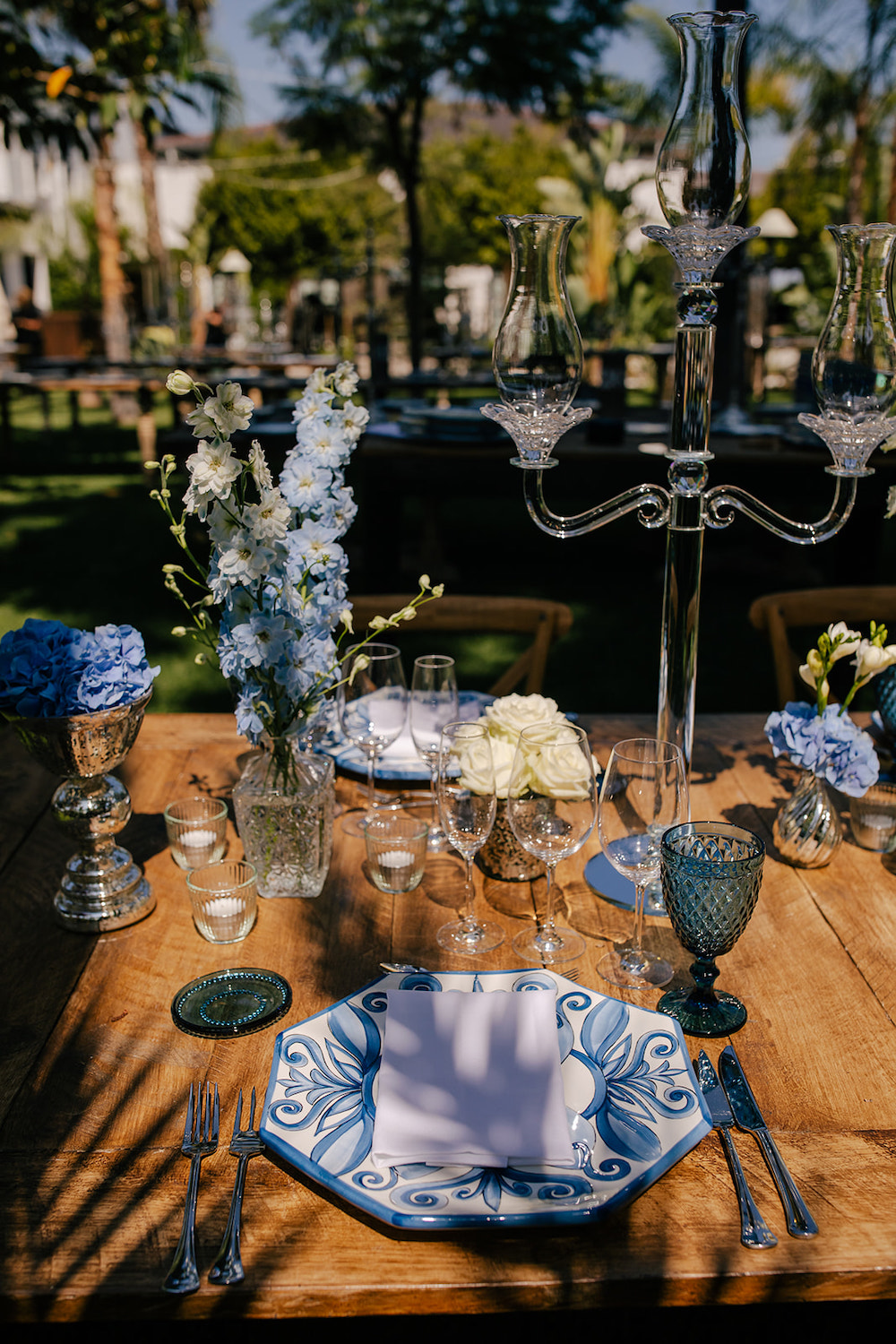 Simple, rustic table setting featuring Classic Blue: Color Of The Year