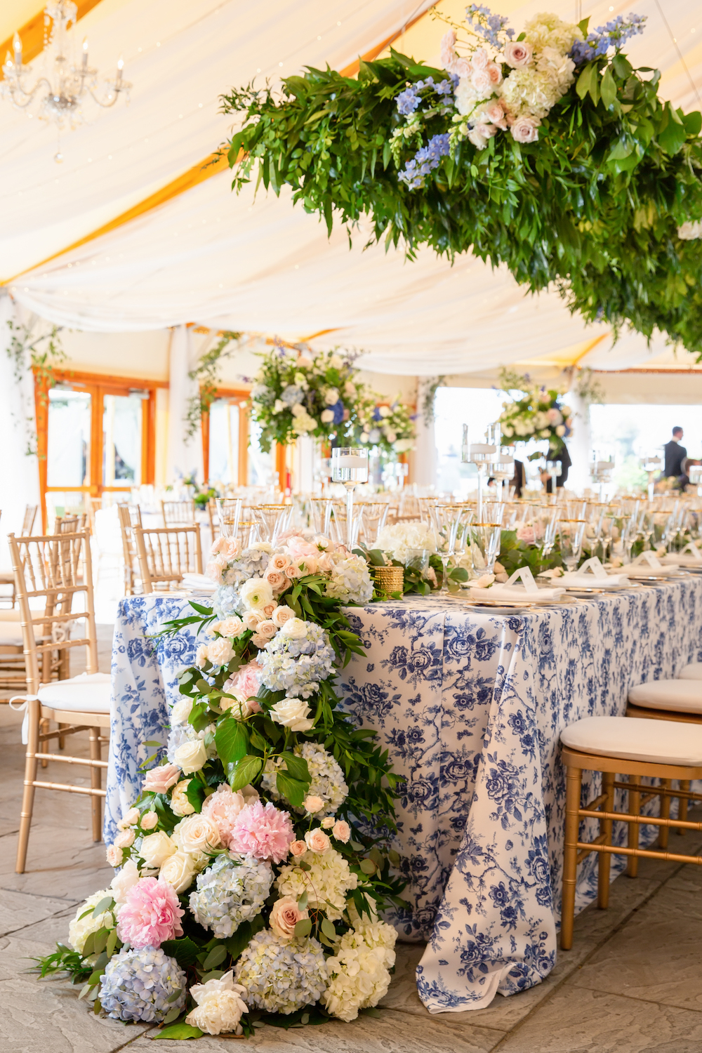 Printed white and Classic Blue: Color Of The Year tablecloth