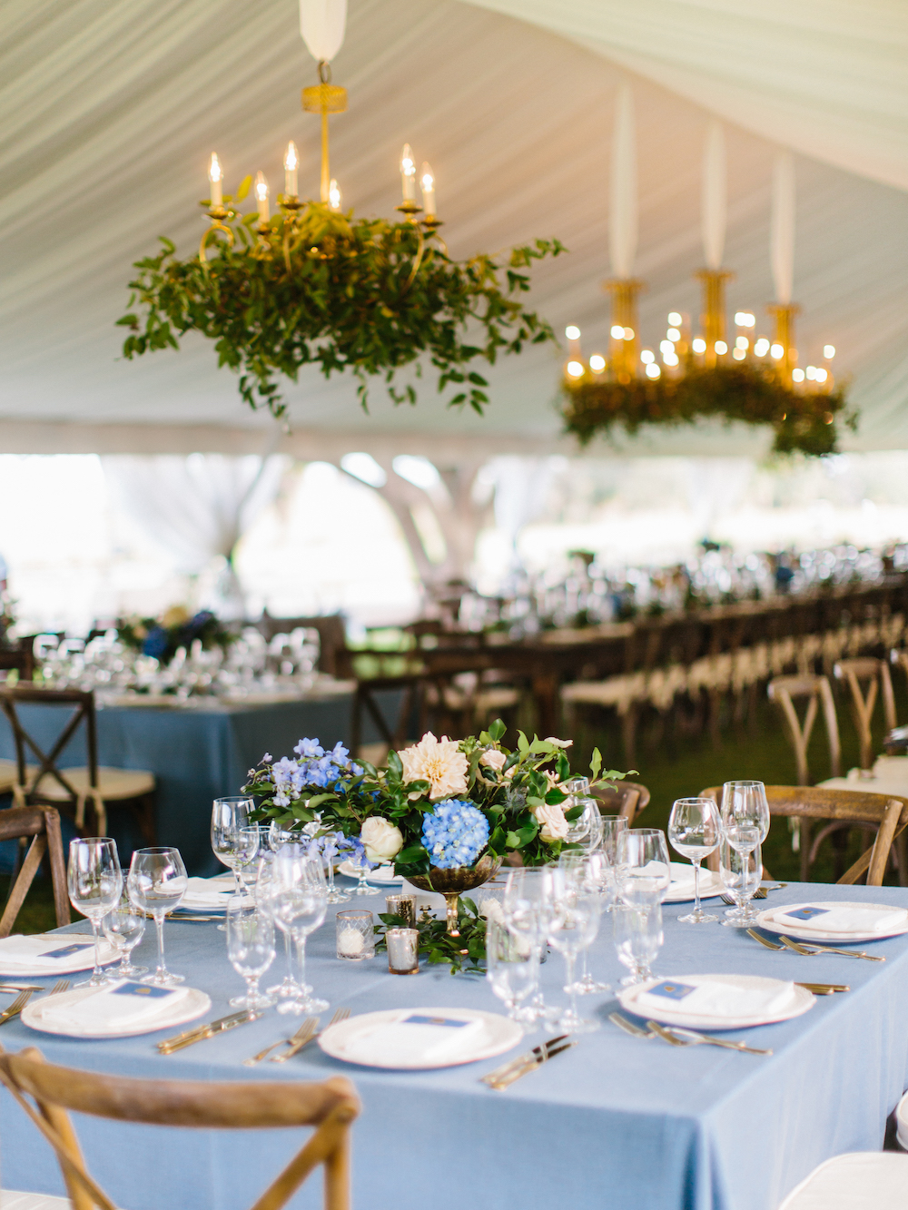 Simple table setting featuring a table cloth in a light shade of Classic Blue: Color Of The Year