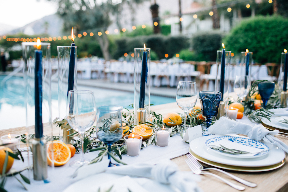 A simple table setting featuring shades of Classic Blue: Color Of The Year