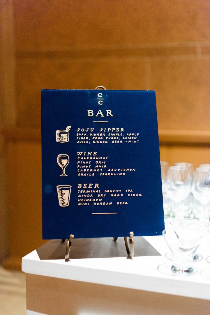 A bar menu featuring different cocktails with a background of Classic Blue: Color Of The Year