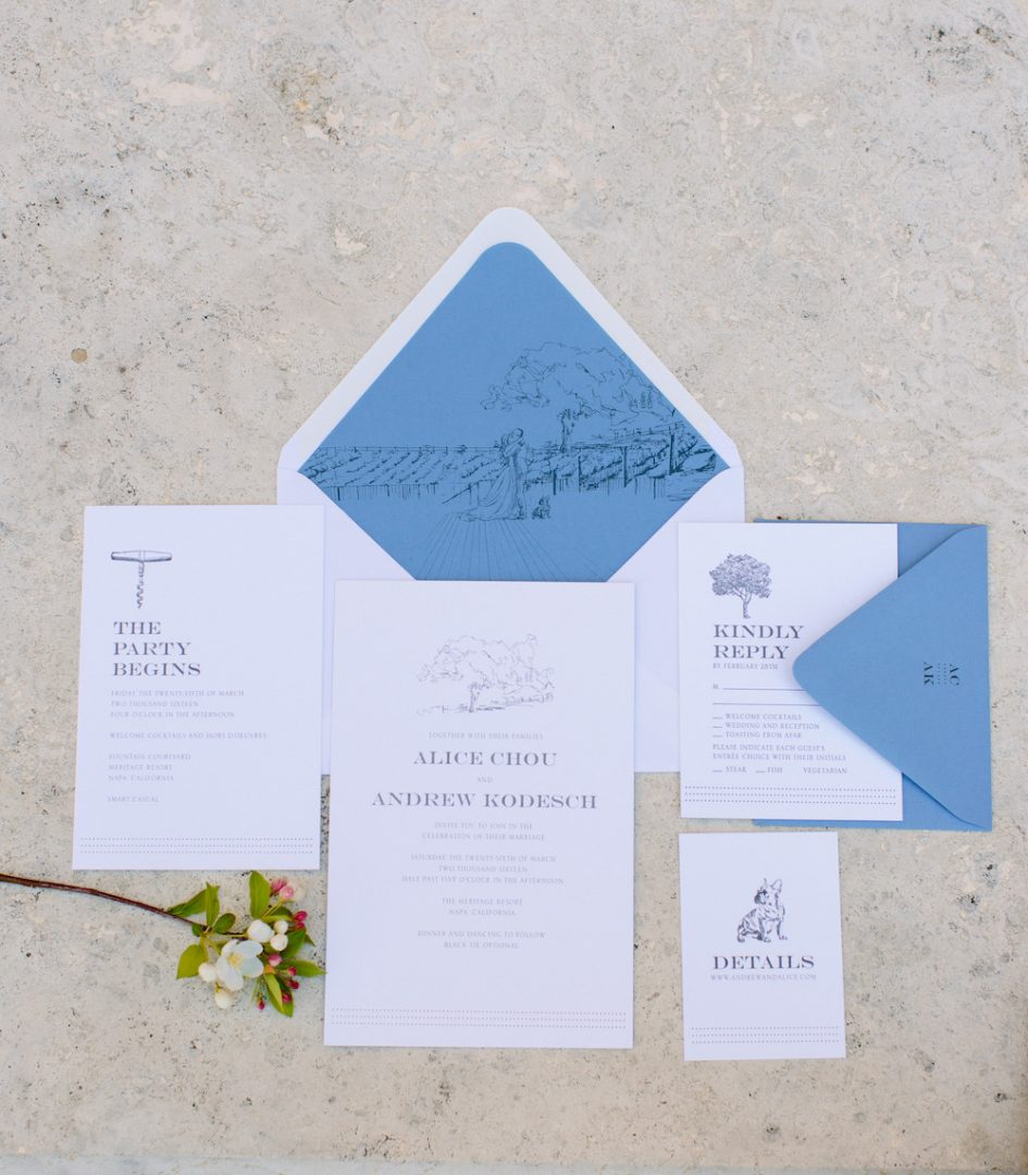 A mix of stationary with simple lining drawings featuring Classic Blue: Color Of The Year