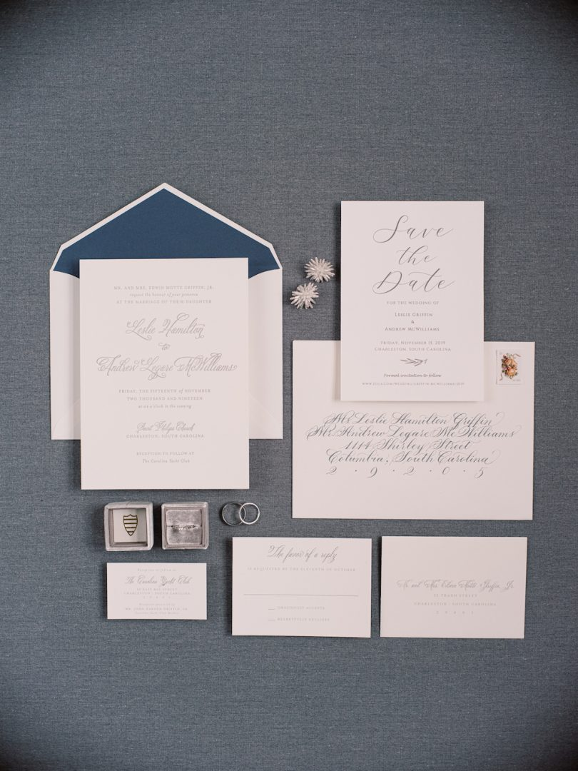 A mix of white stationary and an envelope with a pop of Classic Blue: Color Of The Year