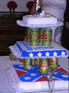 Confederate flag and beer can cake