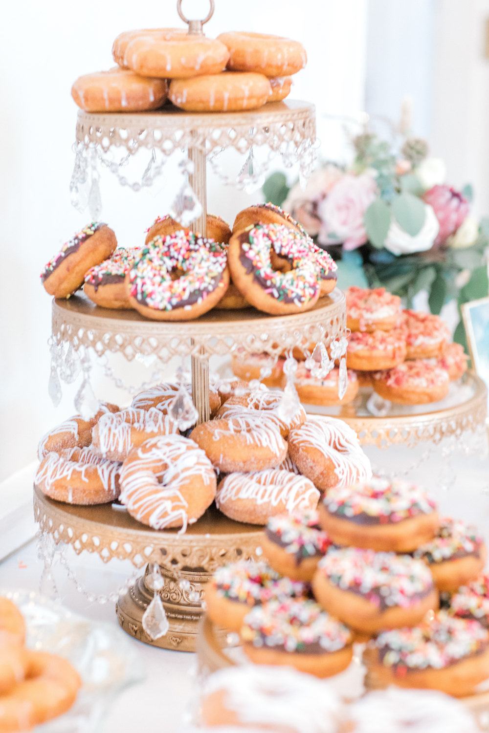 Multi-tier display of donuts
