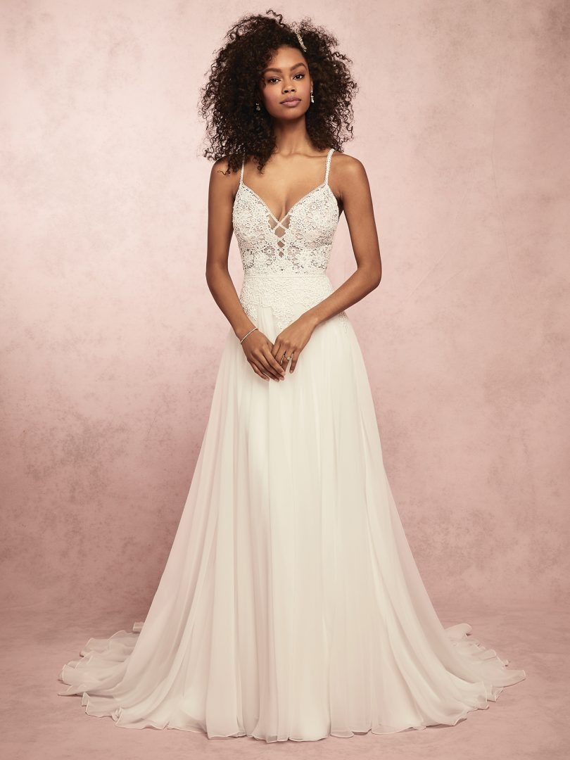 100ff21090 Seraphina lightweight boho wedding dress with floral lace motifs by Rebecca  Ingram